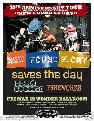 "NEW FOUND GLORY / SAVES THE DAY 2010 ""10th ANNIV. TOUR"" PORTLAND CONCERT POSTER"