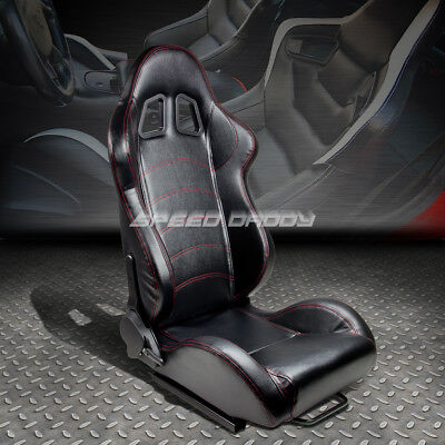Fully Reclinable Pvc Leather Sports Racing Seat+Mounting Slider Passenger Side