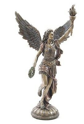 Greek Goddess of Victory Nike Torch Bronze Finish Running Statue #WU75495A4