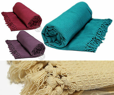 Soft 100% Cotton Honey Comb Throw With Tasselled Edge - Sofa Cover / Bed Blanket