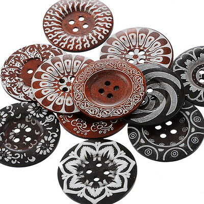 20 NEW Mixed Pattern 4Holes Wood Big Sewing Buttons for Sweater Overcoat 6cm