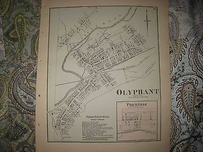 Antique 1873 Olpyhant Priceville Lackawanna County Pennsylvania Handcolored Map