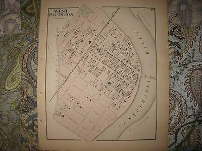 Mint Antique 1873  West Pittston Luzerne County Pennsylvania Handcolored Map Nr