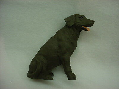 CHOCOLATE LAB FIGURINE dog HAND PAINTED STATUE Labrador Retriever Brown puppy