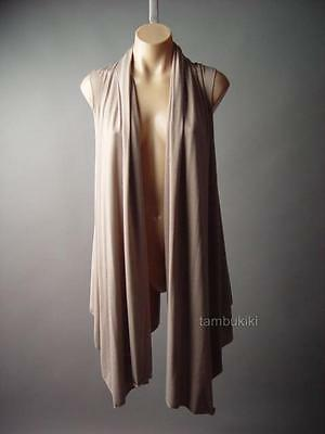 Neutral Taupe Boho Country Cascade Waterfall Collar Casual 101 mv Vest S M L XL