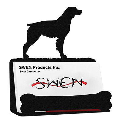 SWEN Products BRITTANY SPANIEL Dog Black Metal Business Card Holder