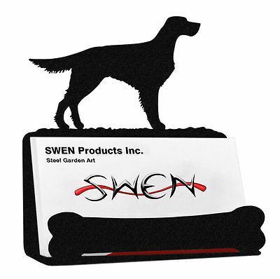 SWEN Products GORDON ENGLISH SETTER Dog Black Metal Business Card Holder