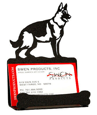 SWEN Products GERMAN SHEPHERD Dog Black Metal Business Card Holder