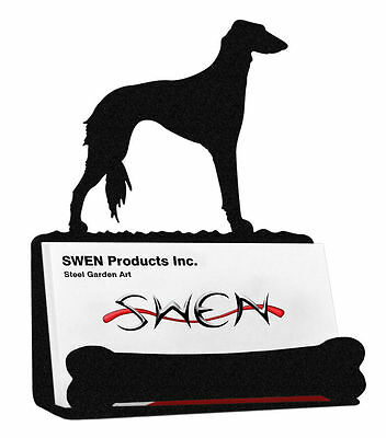 SWEN Products SALUKI Dog Black Metal Business Card Holder