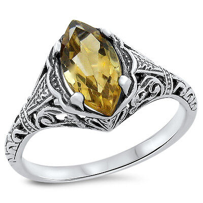 Genuine Citrine Antique Filigree Design .925 Sterling Silver Ring,          #694