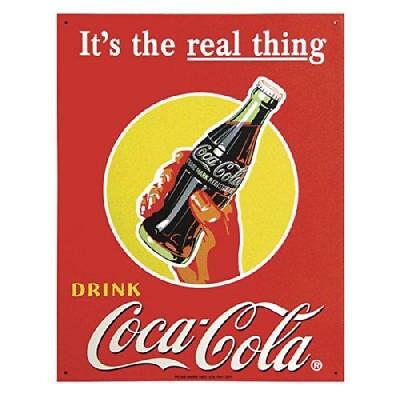 TIN Sign Coke Real Thing - Bottle , 13x16 New