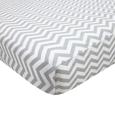 American Baby Co 100% Cotton Fitted Portable/Mini Crib Sheet, Zigzag Grey, New