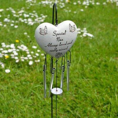Special Nan Always Loved Sadly Missed Memorial Heart Wind Chime Graveside