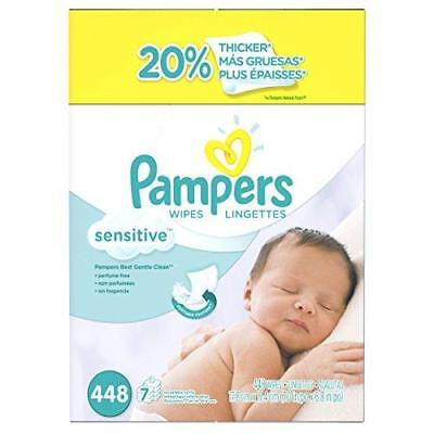 Pampers Baby Wipes Sensitive 7X Refill, 448 Diaper Wipes New