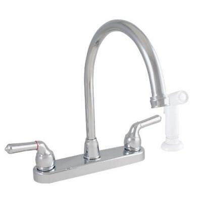 LDR 952 36425CP Exquisite Kitchen Faucet, Gooseneck, Dual Tulip Handle, With New