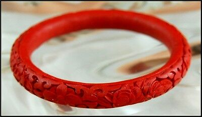 Vintage Mid Century Chinese Carved Red Cinnabar Bangle Bracelet - Estate Jewelry