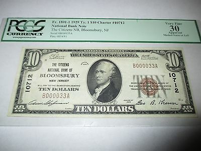 $10 1929 Bloomsbury New Jersey NJ National Currency Bank Note Bill #12984 VF!