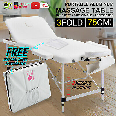 Aluminium Portable Massage Table 3 Fold Beauty Therapy Bed Waxing 75cm WHITE