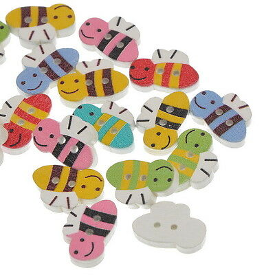 100PCs NEW Wooden Buttons 2 Holes BEE Shaped Mixed 19.7mm x13mm