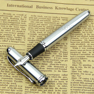 Jinhao X750 Stainless Steel Silver Fine Medium 18KGP Nib Fountain Pen