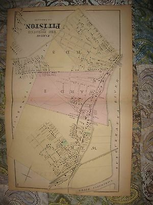 Large Mint Antique 1873 Pittston Luzerne County Pennsylvania Handcolor Map Rare