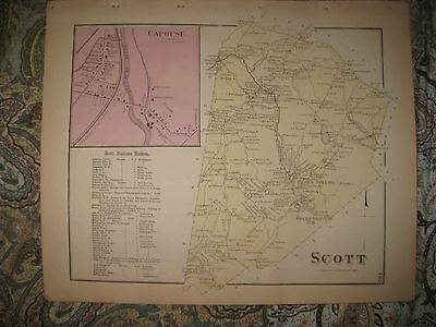 Antique 1873 Scott Township Capouse Lackawanna County Pennsylvania Handcolor Map