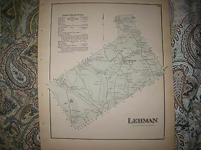 Mint Antique 1873 Lehman Township Luzerne County Pennsylvania Handcolored Map Nr