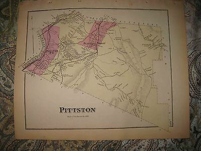 Antique 1873 Pittston Township Pleasant Valley Luzerne County Pennsylvania Map N