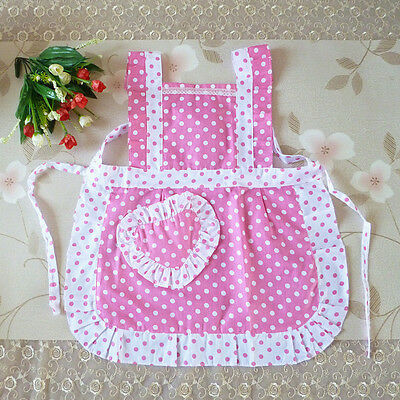 Girl Kids Princess Children Pink Apron Baking Party Polka Dot Kitchen Cook Women