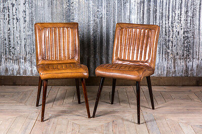 Vintage Retro Style Tan Leather Kitchen Dining Cafe Chairs The Epsom