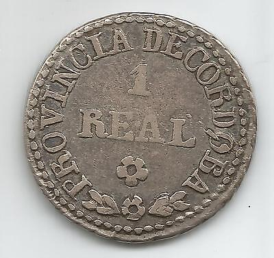 1848 Real 1R  Silver  Argentina Cordoba 8 Pt Sun Rays Toned