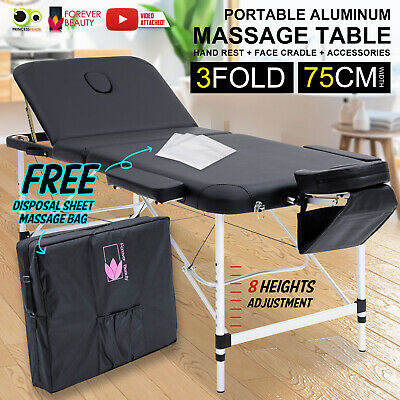 Aluminium Portable Massage Table 3 Fold Beauty Therapy Bed Waxing 75cm BLACK