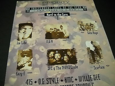 EAZY-E Ice Cube NWA Scarface GETO BOYS etc HARD TO THE CORE 1991 Promo Display A