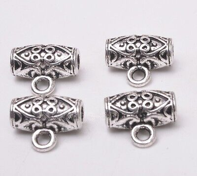 10pcs Tibetan silver oval beads Connectors Bails Jewelry Findings 12mm A3096