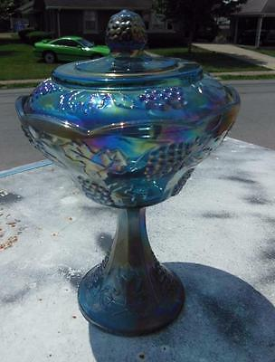 Vintage Blue Amethyst Indiana Carnival Glass Grape Harvest Pedestal Dish #2
