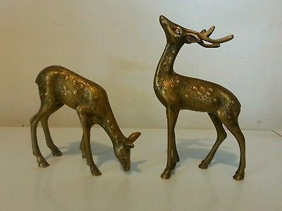 Pair Brass Deer Figures Stag Buck With Doe Cabin Lake House Christmas Decor