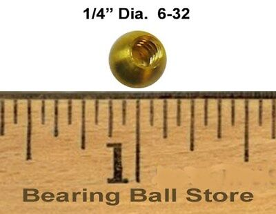 "Ten 1/4"" threaded 6-32 brass balls drilled tapped knobs"