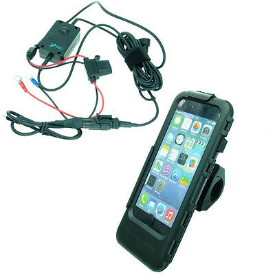 Motorcycle Hardwire Powered Tough Case PRO Handlebar Phone Mount for iPhone 6