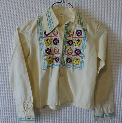 70s vintage Girls ivory cotton blouse w/embroidiery 10 29 breast