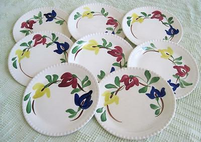 "Eight Blue Ridge Southern Potteries Carnival 9.25"" Plates On Candlewick"