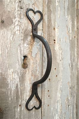 Beautiful Handwrought Iron Shaker Heart Door Handle Pull Folk Art Dh1