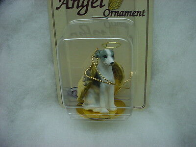 WHIPPET Gray White dog ANGEL Ornament RESIN Figurine Statue NEW Christmas puppy