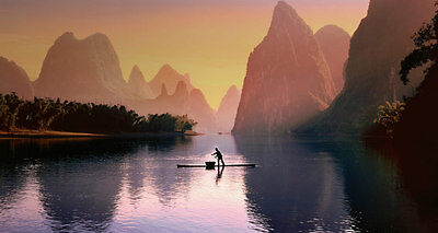Fisherman near Guilin China, Must See Beautiful Art Print Poster 24 in. x 36 in