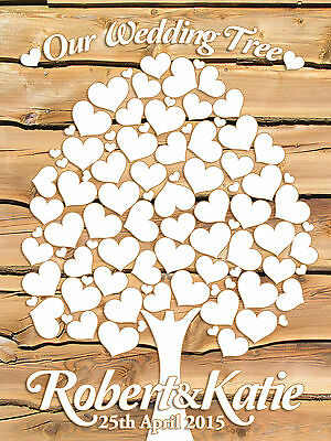 Personalised Wedding Guest Canvas. Guest Book Alternative.  58 Blank hearts