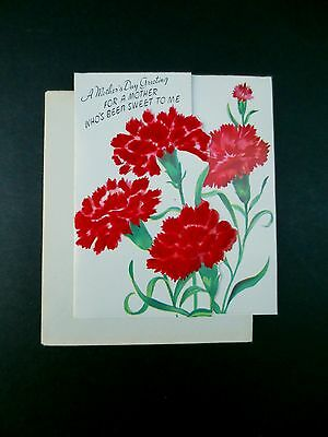 # J378- Unused Ruth Jeaneret Mother's Day Greeting Card Flocked Carnations