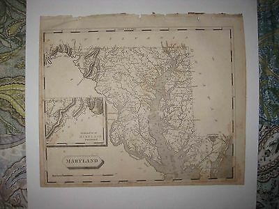 Important Antique 1805 Maryland Arrowsmith & Lewis Copperplate Map Baltimore Nr