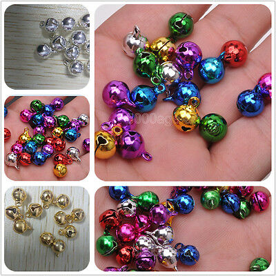 silver gold mix color Copper bell small Bells Dangle Charms With Loop 6 7.5 10mm