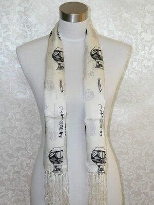 2Ply Men New 100% Silk Oblong Scarf Black White Chinese Characters