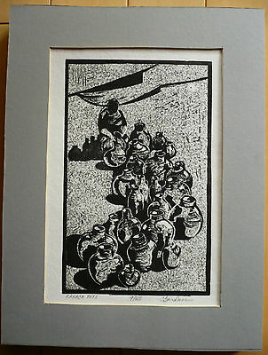 Charles Reed Gardner, Listed Modern Print Oaxaca Pots Mexico Signed Bold Modern