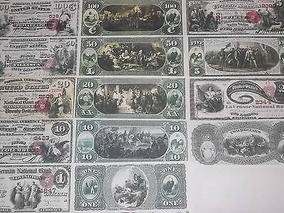 Rare Histroic Stunning 7 1875 Unc U.s. Banknote Set Copy!